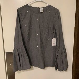 Time and tru bell sleeve pearl blouse